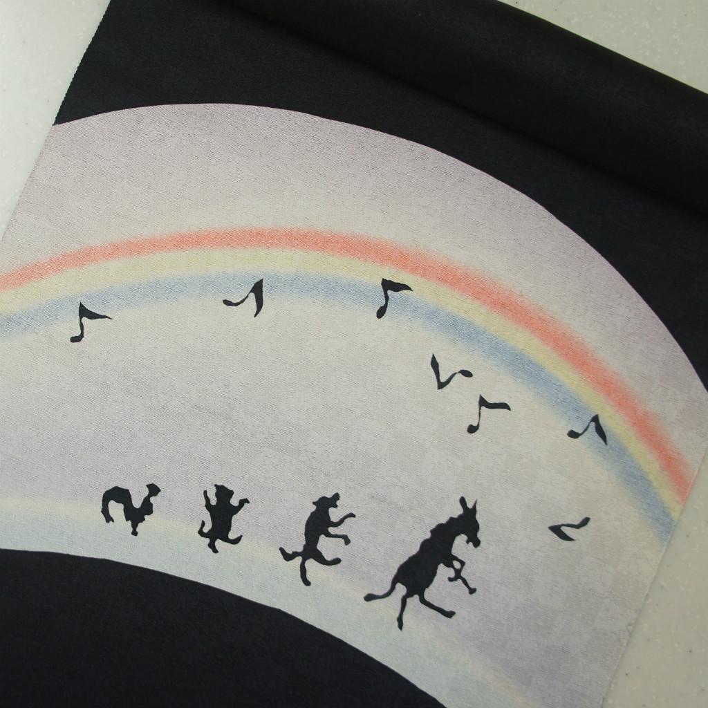 正絹紋意匠ローケツ染帯 黒地 堰出し染 ヌレ描き 染め帯 影絵 ブレーメンの音楽隊の柄