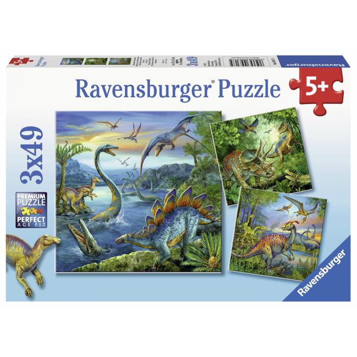 ドイツ ラベンスバーガー社のジグソーパズル 期間限定ポイント5倍 ダイナソー 49ピース×3 パズル おもちゃ 恐竜 4歳 ギフト 上質 激安超特価 お得 ジグソーパズル 5歳 ラベンスバーガー プレゼント 6歳