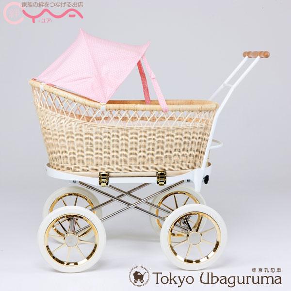 東京乳母車 プスプス 【スタンダード本体+水玉幌】ピンク ベビーカー 双子 二人乗り AB型 ベビーベッド 持ち運び