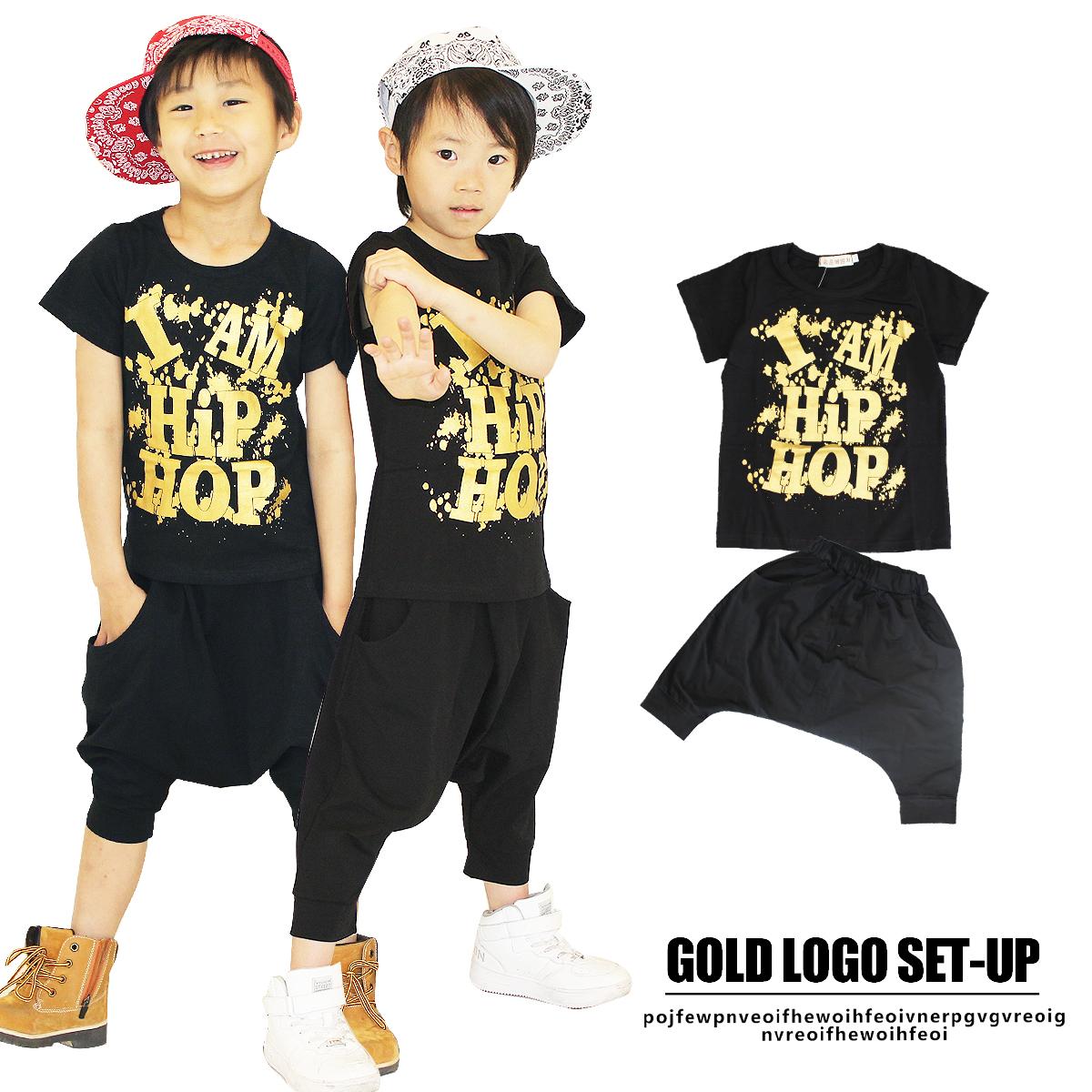 ゴールドロゴ 半袖 上下セット ゴールドロゴ 半袖 上下セットセット ロゴT セットアップ サルエル ジュニア キッズ ブラック ゴールド ダンス HIPHOP 衣装 120cm 130cm 140cm 150cm 女の子 男の子 子供服子供服yuai
