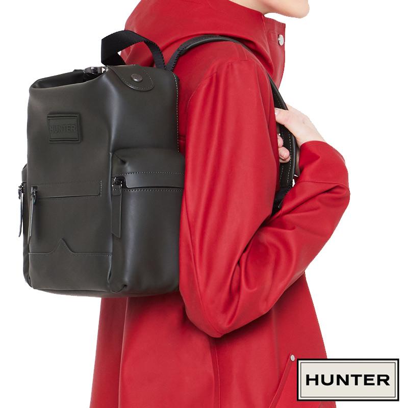 HUNTER/ハンター ORIGINAL MINI RUBBER LEATHER BACKPACK オリジナル ミニ トップクリップ バックパック ラバーレザー 撥水 メンズ レディース ブラック