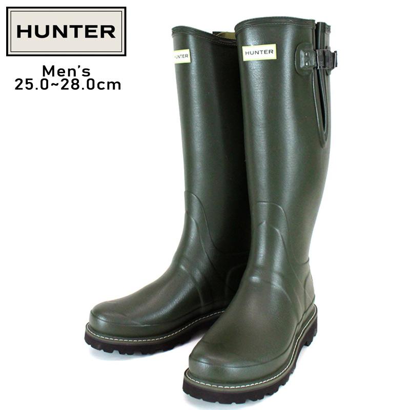 HUNTER/ハンター MEN'S BALMORAL SIDE ADJUSTABLE BOOTS バルモラル サイドアジャスタブル ブーツ メンズ DOV 防水 耐水 ラバー ダークオリーブ