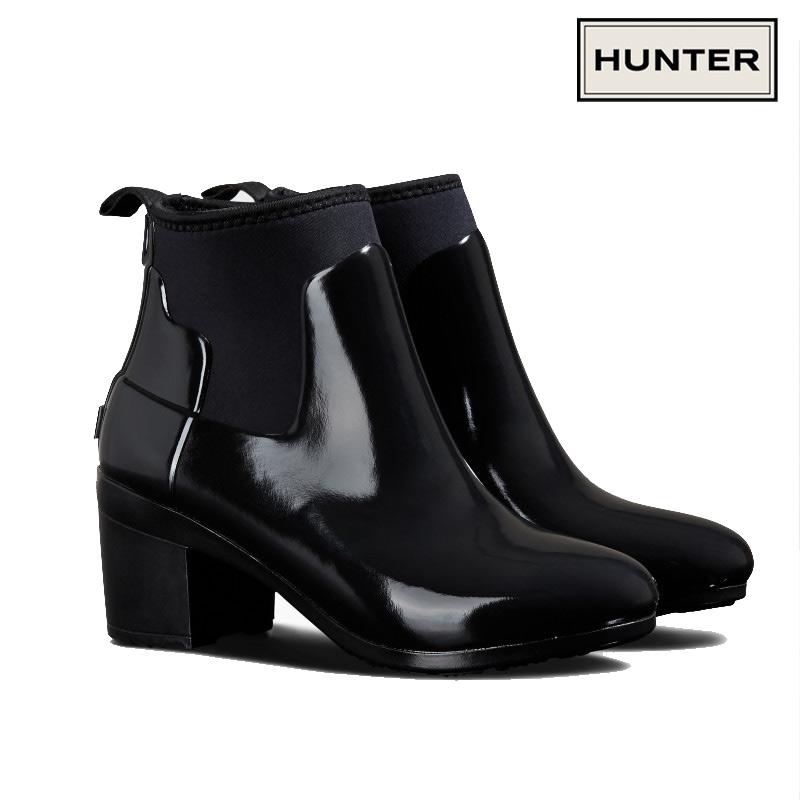 HUNTER/ハンター REFINED MID HEEL GLOSS リファインド グロス ミッドヒール ブーツ 防水 耐水 ラバー レディース