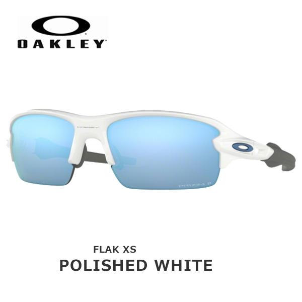 オークリー サングラス スポーツ フラック OAKLEY FLAK XS フレーム:Polished White レンズ:Prizm Deep Water Polarized oky-sun