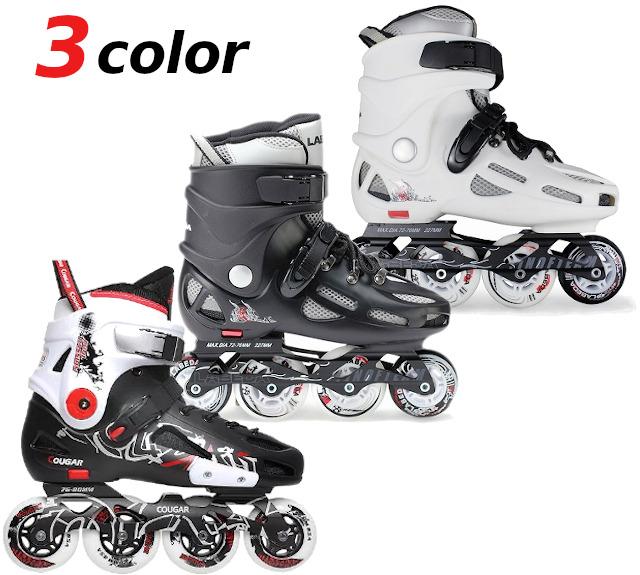 お買い得 特価品 インラインスケート スラローム フリースケート対応 子供から大人まで ハードブーツ セールSALE%OFF COUGAR クーガー 人気の定番 ホワイト LABEDA トリック ブラック ラベダ
