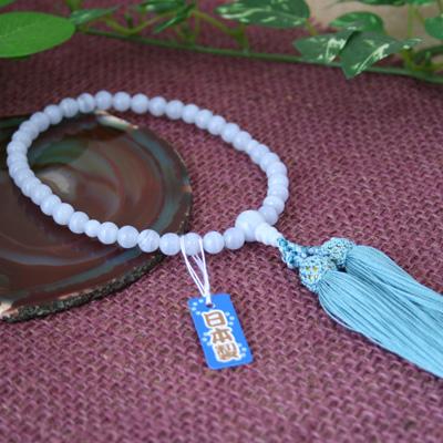 ☆【数珠・念珠/女性用】カルセドニー 共仕立 片手 頭付弥勒房