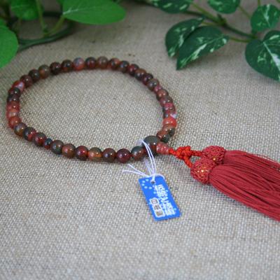 ☆【数珠・念珠/女性用】赤苔メノウ 瑪瑙 共仕立 片手 頭付弥勒房/人間関係運