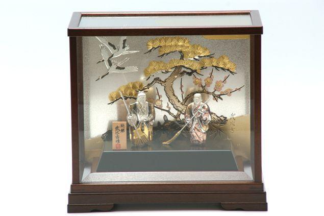 純銀製 置物 高砂 2号(背景付) 結納品 の一品に 送料無料名入れ彫刻無料 伝統工芸士 武比古作の逸品です 結婚祝い 賀寿 長寿祝い 各種贈答用に最適ラッピング対応可・代筆無料 純銀銀製 銀製品 シルバー