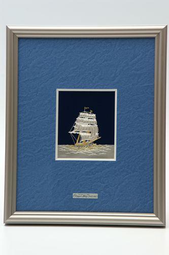 純銀製 額 帆船3号 送料無料名入れ彫刻無料 伝統工芸士 武比古作の逸品です 結婚祝い 賀寿 長寿祝い 各種贈答用に最適ラッピング対応可・代筆無料 純銀銀製 銀製品 シルバー