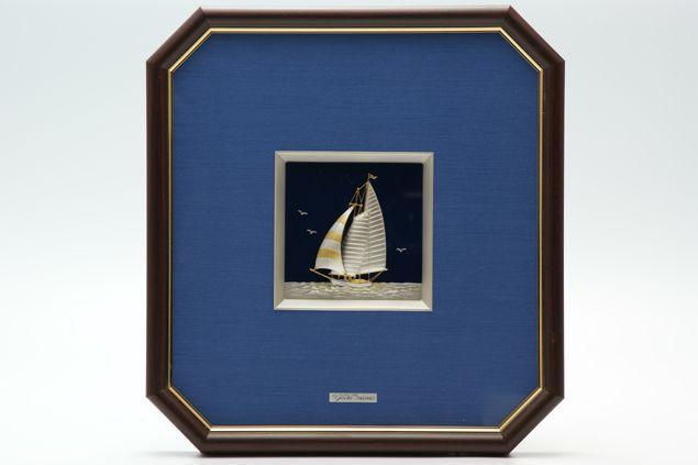 純銀製 額 ヨット5号 送料無料名入れ彫刻無料 伝統工芸士 武比古作の逸品です 結婚祝い 賀寿 長寿祝い 各種贈答用に最適ラッピング対応可・代筆無料 純銀銀製 銀製品 シルバー