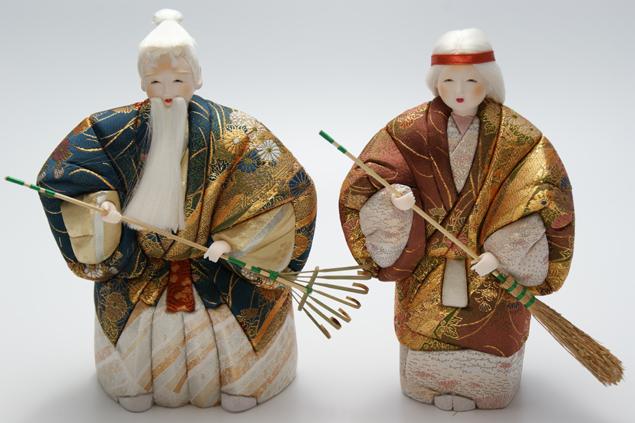 木目込 高砂人形 祥風 十号(約23cm) 結納 賀寿 長寿祝い などに 送料無料 長寿・和合の象徴である高砂人形…伝統美溢れる一刀彫高砂人形です