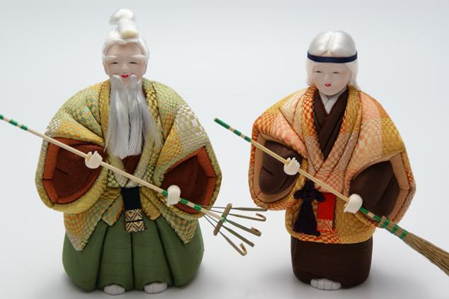 木目込 高砂人形 やまと人形 六号(約18cm) (結納・賀寿・長寿祝いに) 送料無料 長寿・和合の象徴である高砂人形…伝統美溢れる一刀彫高砂人形です