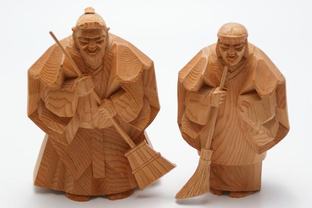 一位 一刀彫 高砂人形 和之 六寸(約18cm) 結納 賀寿 長寿祝い に 送料無料 長寿・和合の象徴である高砂人形…伝統美溢れる一刀彫高砂人形です
