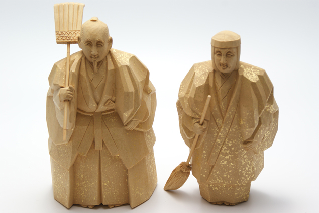 高砂人形 一刀彫 高桑章 七寸(約21cm) 結納 賀寿 長寿祝い に 送料無料 長寿・和合の象徴である高砂人形…伝統美溢れる一刀彫高砂人形です