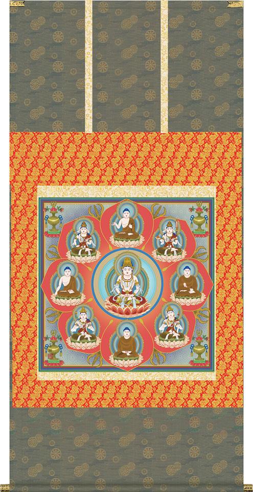 掛軸(掛け軸) 曼荼羅 鈴木翠朋作 尺八横 約横65×縦130cm【送料無料】d6710