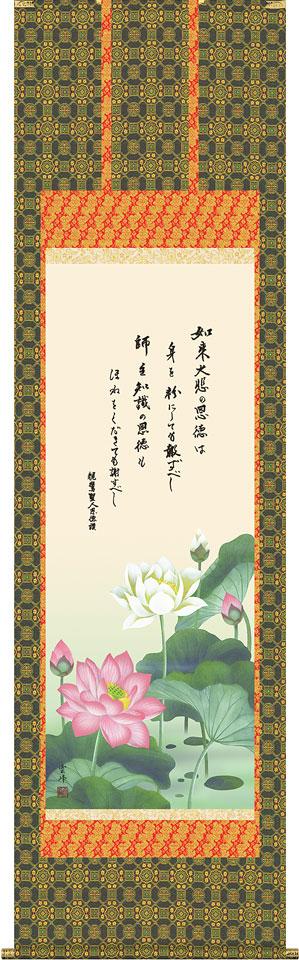 掛軸(掛け軸) 恩徳讃蓮華 清水雲峰作 尺五立 約横54.5×縦190cm【送料無料】d6711