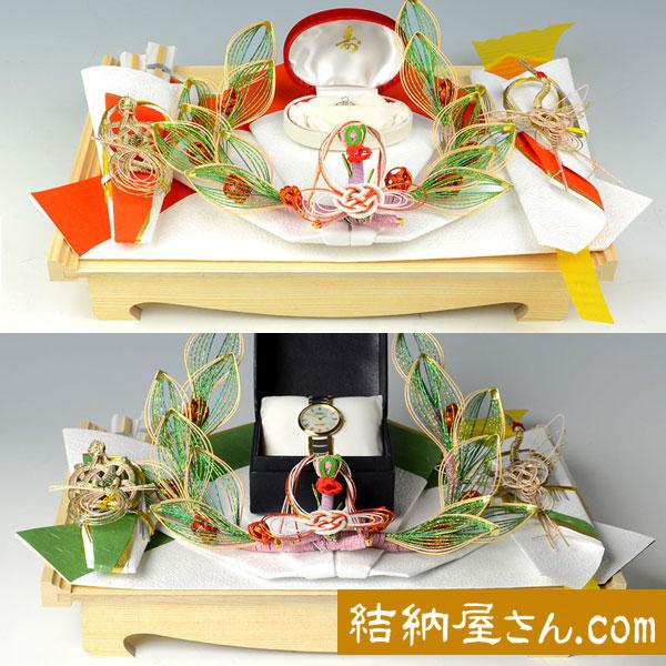 同時交換 -記念品メインの結納品-花みずき白木台セット(毛せん付)