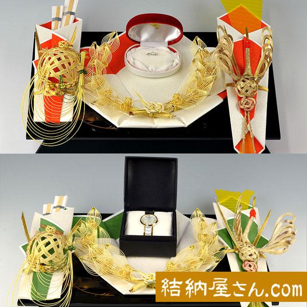 同時交換 -記念品メインの結納品-パール指輪セット1(毛せん付)
