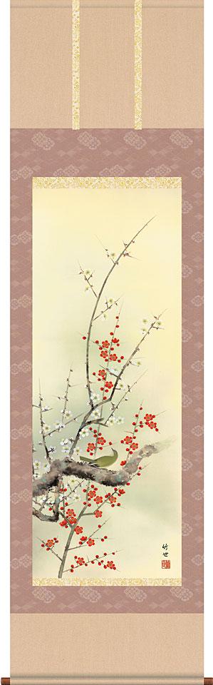 掛軸(掛け軸) 春用 四季花鳥 紅白梅に鶯 田村竹世作 尺五立 約横54.5cm×縦190cm【送料無料】d8715