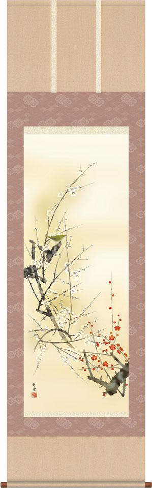 掛軸(掛け軸) 春用 紅白梅に鶯 田村竹世作 尺五立 約横54.5cm×縦190cm【送料無料】d8901