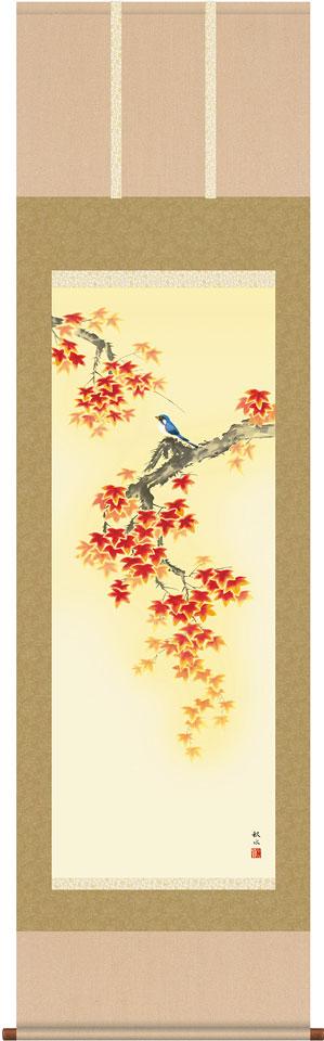 掛軸(掛け軸) 秋用 紅葉に小鳥 浮田秋水作 尺五立 約横54.5cm×縦190cm【送料無料】d8904