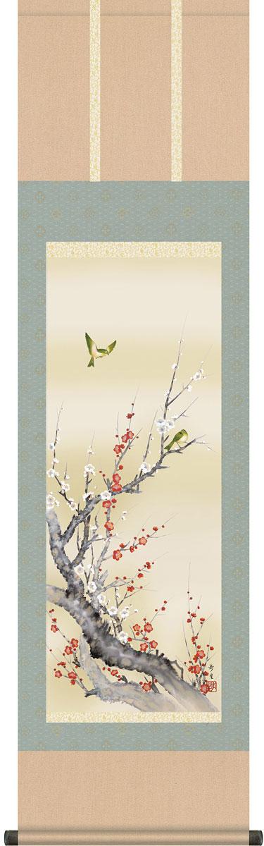 【ニューイヤーセール10%オフ】掛軸(掛け軸) 春用 紅白梅に鶯 北山歩生作 尺三立 約横44.5cm×縦164cmg4145