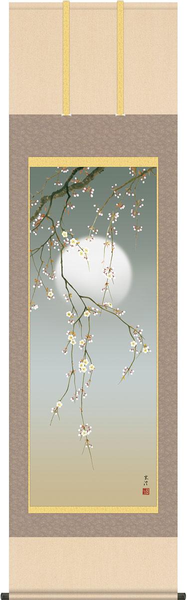 掛軸(掛け軸) 夜桜 清水玄澄作 尺五立 約横54.5cm×縦190cm【送料無料】g4558