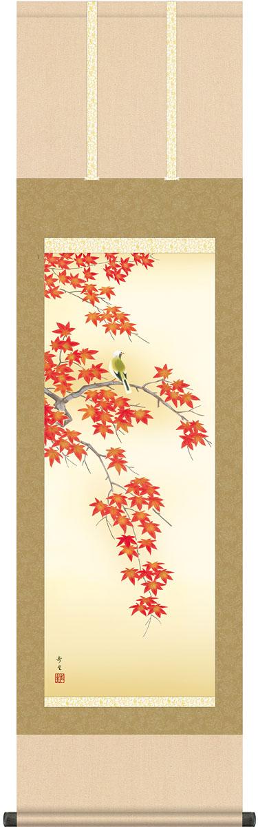掛軸(掛け軸) 秋用 紅葉に小鳥 北山歩生作 尺三立 約横44.5cm×縦164cm g4584