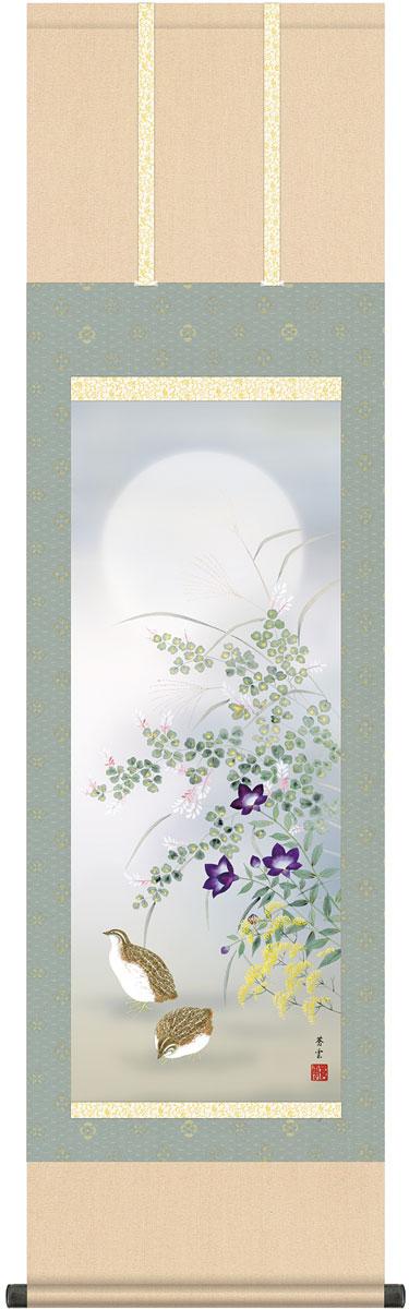 掛軸(掛け軸) 秋用 秋草に鶉 茂木蒼雲作 尺三立 約横44.5cm×縦164cm g4586