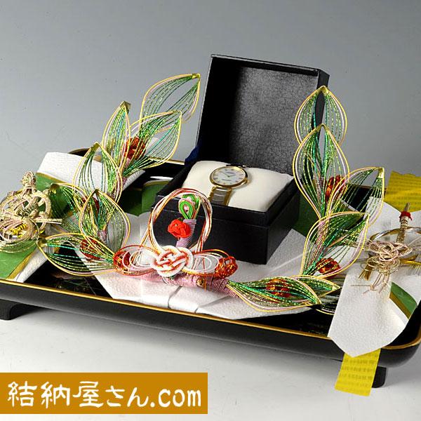 結納返し -記念品メインの結納品-花みずき黒塗台セット(毛せん付)