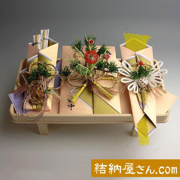 結納返し-略式結納品- 孔雀セット(毛せん付)【白木台】