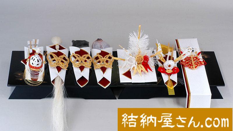 結納-関東式結納品-関東式わたゆき黒塗台7点セット(毛せん付)