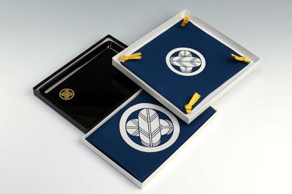切手盆(越前塗り)8号3点セット【梅】 定紋
