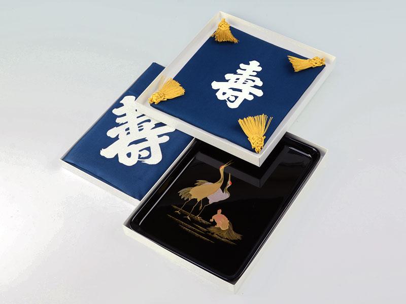 【夫婦鶴】切手盆9号3点セット(平安)