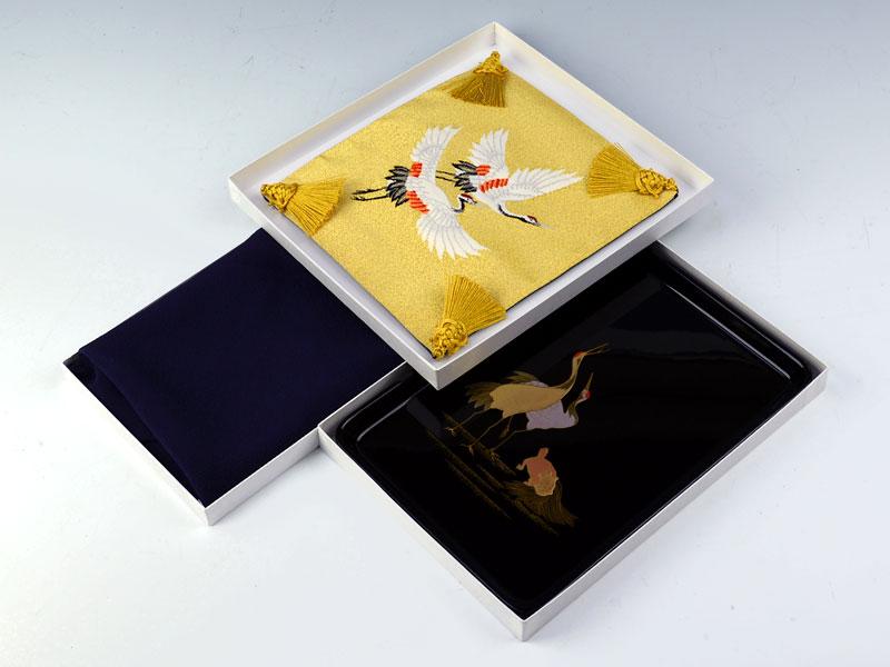 切手盆(越前塗り)9号3点セット【鎌倉】 夫婦鶴