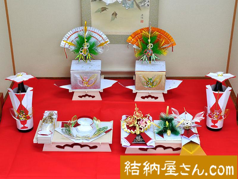 結納 -九州式結納品-蓬莱(ほうらい)7点セット(毛せん付)