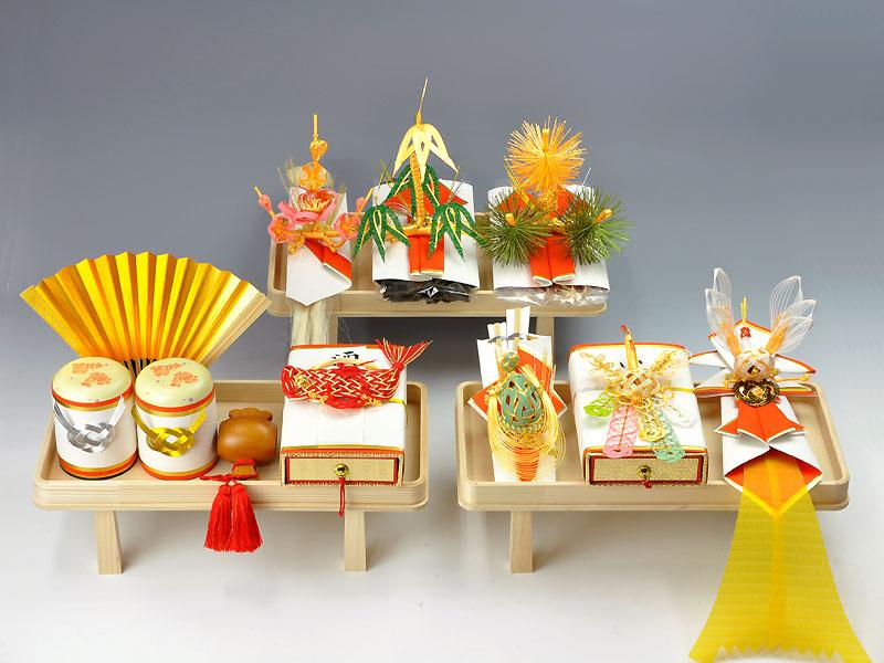結納 -九州式結納品-琥珀(こはく)白木台セット【九州仕様スタイル1(酒肴料)】(毛せん付)
