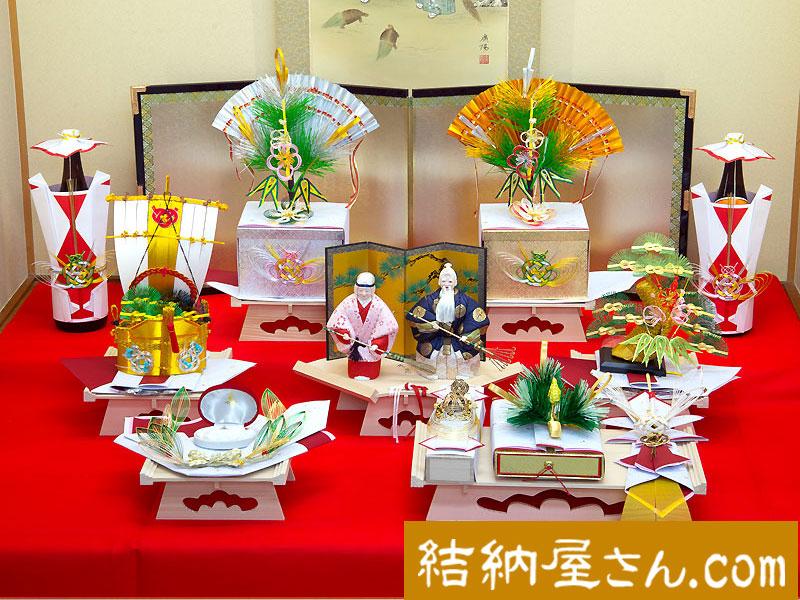 結納 -九州式結納品-宝セット(毛せん・屏風付)