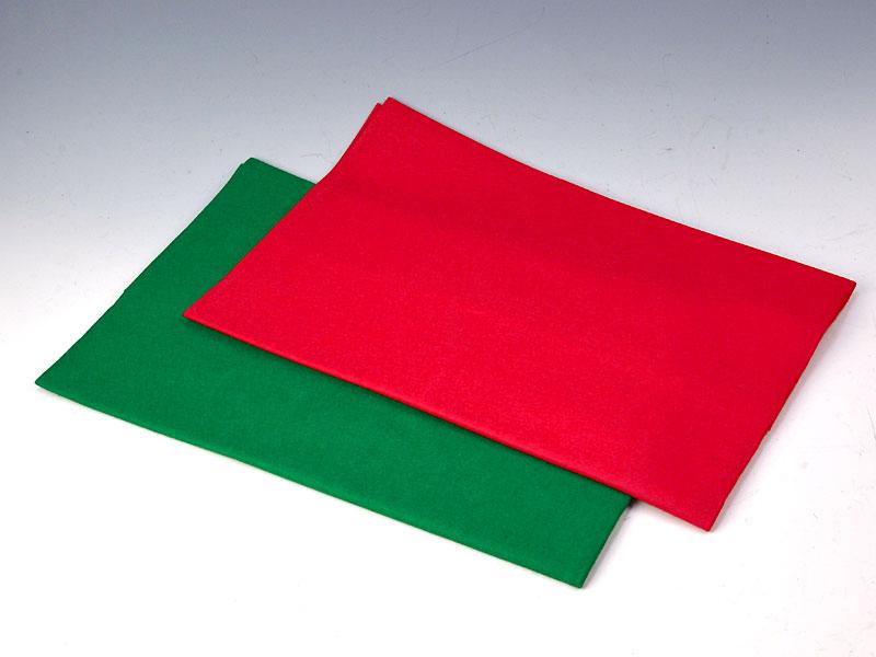 毛せん 赤・緑(2枚セット) 180×90 cm【ウール】毛氈
