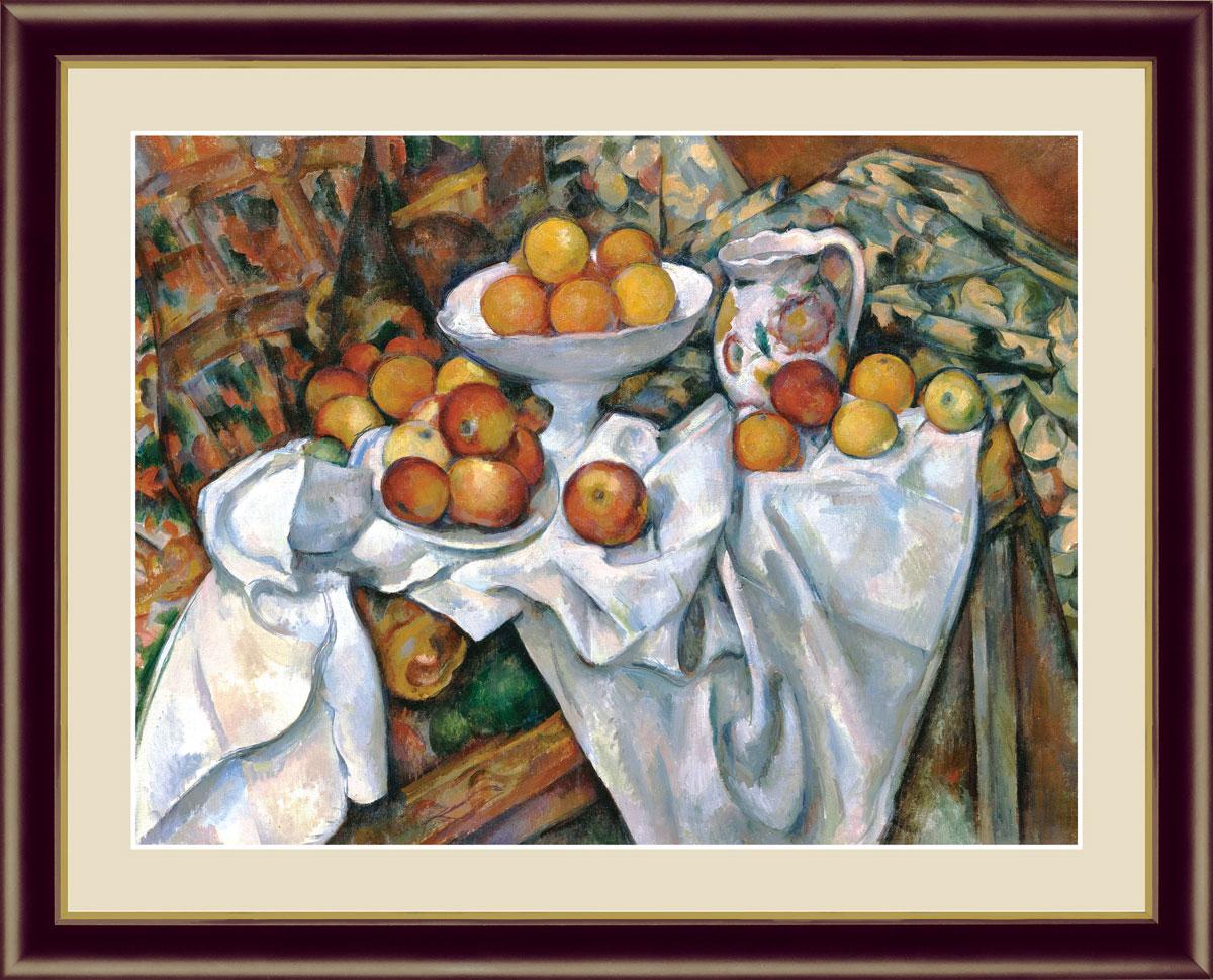【インテリアアート(額絵) 世界の名画】 林檎とオレンジ セザンヌ作 約横42×縦34cm【F4サイズ】g5116