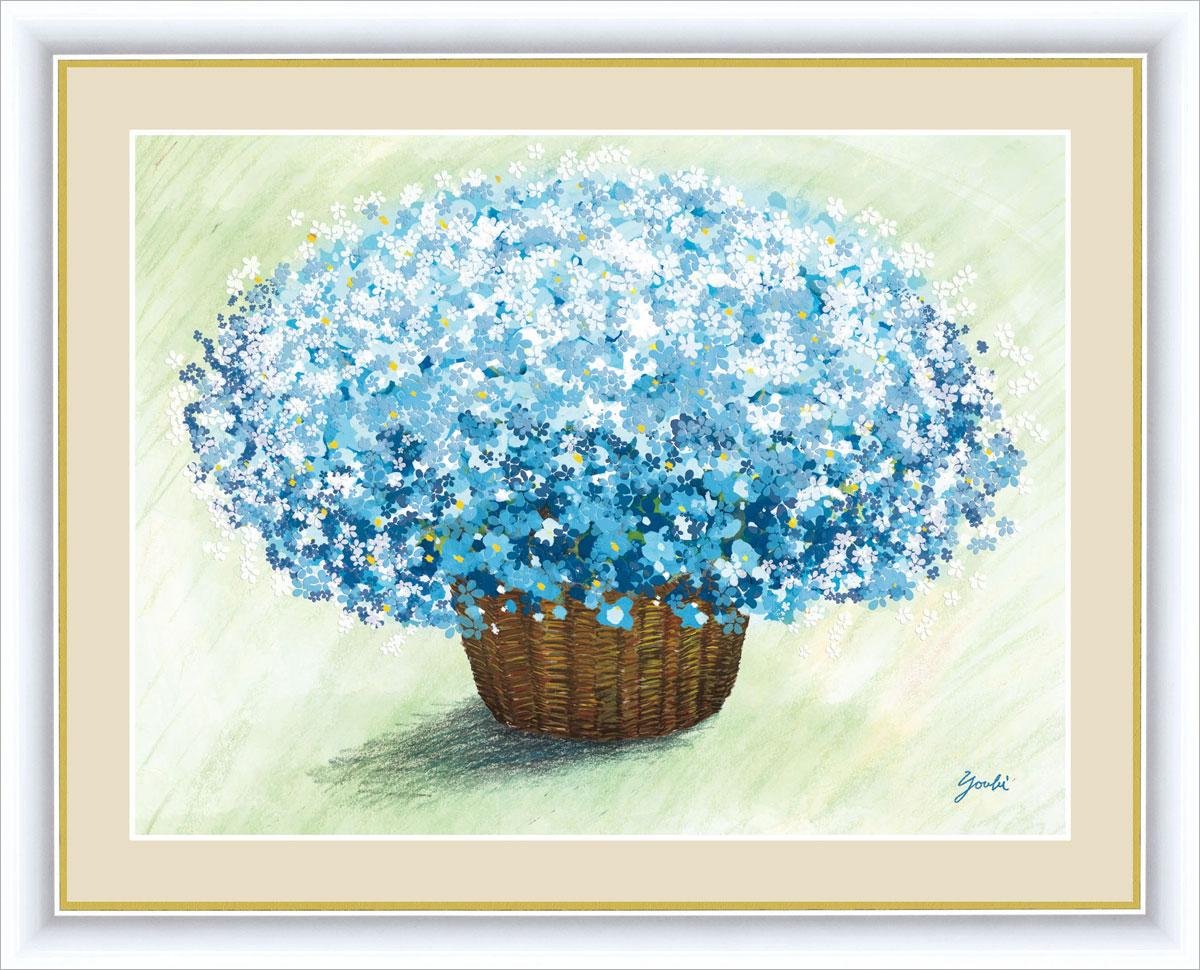 【インテリアアート(額絵) しあわせをまねく絵】爽やかなブルーのブーケ 洋美作 幸せのブーケ 約横52×縦42cm【F6サイズ】g5181