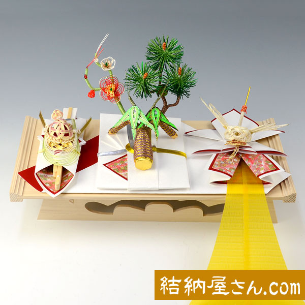 【結納フェア商品 ポイント2倍】結納-略式結納品- 春日セット(友禅)(毛せん付)【白木台】