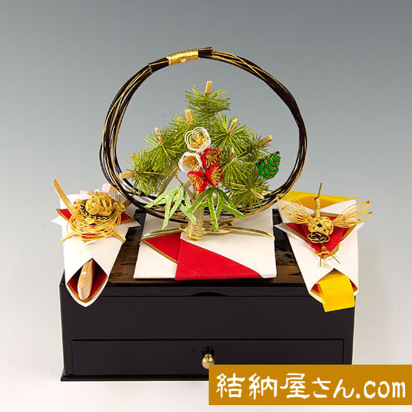 結納-略式結納品-蒔絵(まきえ)宝石箱セット(毛せん付)