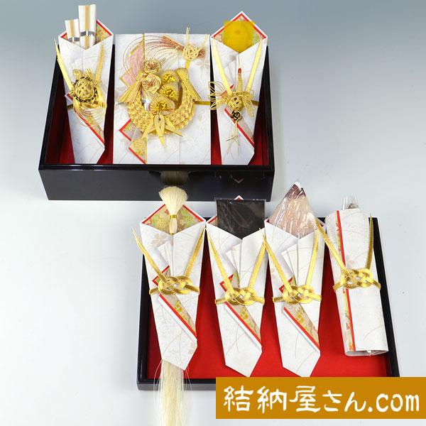 結納-略式結納品- おしどりアレンジセット4【鰹節・スルメ・コンブ・友白髪付】