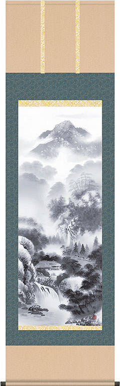 掛軸(掛け軸) 閑雅悠景  長江桂舟作尺五立 約横54.5×縦190cm【送料無料】 d9205