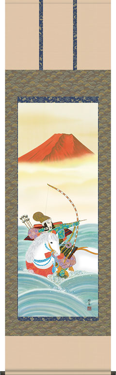 端午の節句掛軸(掛け軸) 波上武者 香山緑翠作 【尺五立】d5604