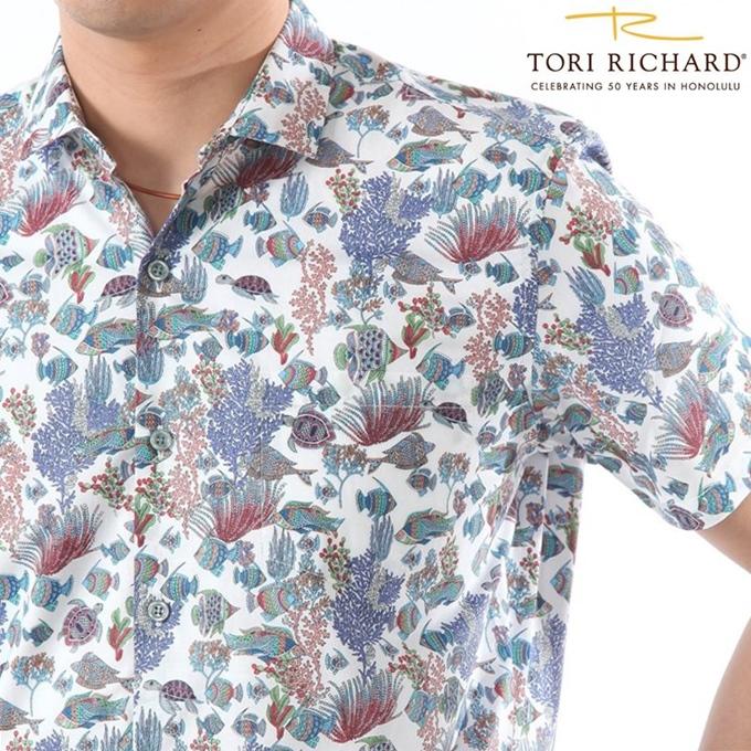 アロハシャツ メンズ TORI RICHARD珊瑚礁柄/ホワイトベース トリリチャードフルボタンタイプ/コットン/メンズ海外ウェディング/海外挙式/クールビズ 総柄シャツ【父の日】
