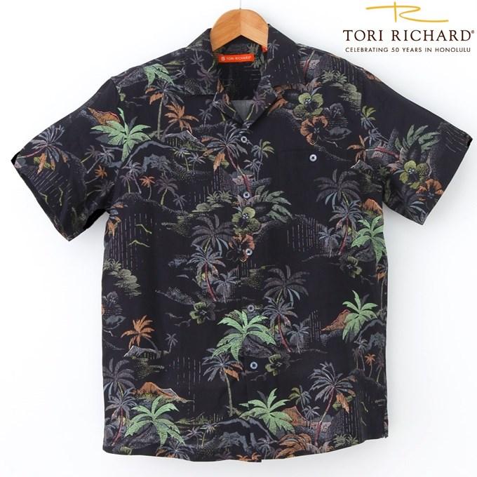 アロハシャツ TORI RICHARD トリリチャードシルク/リヨセル素材/ブラック・ビンテージデザインSILK/1962/メンズ/クールビズギフト・プレゼント/海外ウェディング/海外挙式