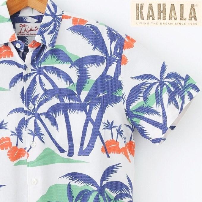 アロハシャツ メンズ 【KAHALA】カハラナチュラルホワイト/ヤシ柄/レーヨンSHADY DAZE/白・青【ハワイアンシャツ 大きいサイズ有】メンズアロハシャツ/半袖/クールビズ 総柄シャツ【父の日】