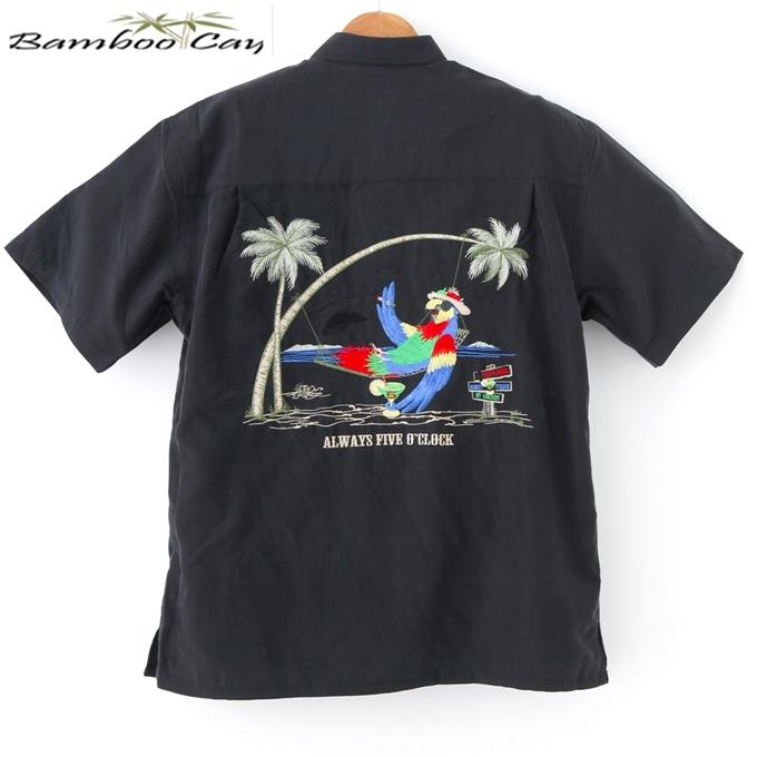 アロハシャツ Bamboo Cay バンブーケイリゾートパロット・ヤシの木刺繍黒・ブラック/メンズ/リゾート着/ギフト・プレゼント海外ウェディング/海外挙式/結婚式シルク風レーヨン素材・ポリ混毛【父の日】